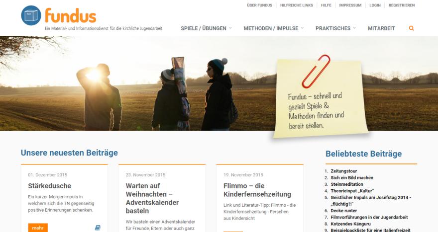 Screenshot von der Seite Fundus Jugendarbeit