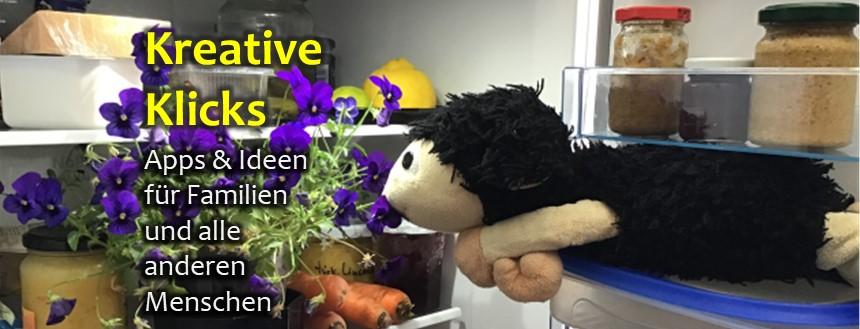 ein Plüsch-Schaf liegt im Kühlschrank und knabbert an einer Blume in einem Blumentopf